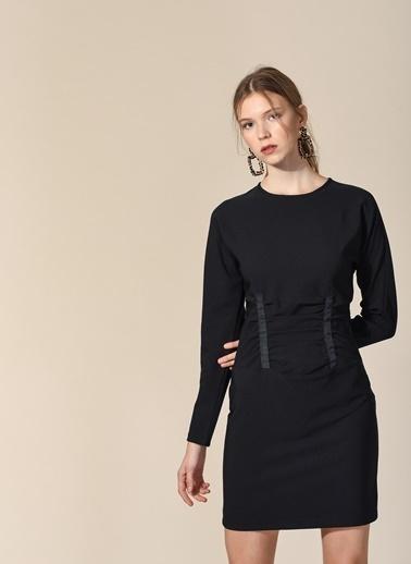 Agenda Beli Korse Detaylı Elbise Siyah